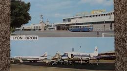 CPSM AEROPORT AIRPORT DE LYON BRON AVION AIR INTER AIR FRANCE BUS CAR AUTOBUS ED LA CIGOGNE - Aeródromos