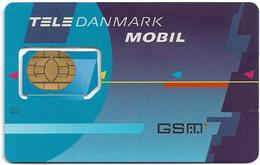 Denmark - Tele Danmark Mobil - Plain Blue (Type #2) GSM SIM2 Mini, Used Fixed - Dinamarca