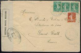 Fr - Affr. Semeuse à 25 C - Cachets Trésor & Postes 402 Le 12-8-1916 : Bou Denib (Maroc Oriental) Enveloppe Pour St Gall - Storia Postale