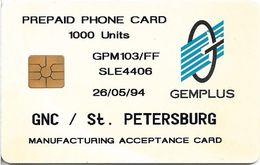 Russia - GNC - St. Petersburg Gemplus Test Card 1000Units, 26.05.94, ≈20ex, Mint - Rusia