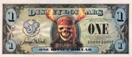USA 1 Disney Dollar (2007) - Pirates Of The Caribbean - Flying Dutchman Ship - USA