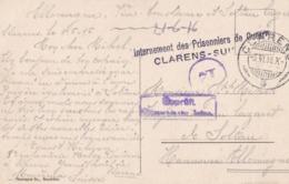 CP Soldat Militaire Belge Internement Clarens Suisse Vers Camp Soltau Cachet Censure Montreux - War 1914-18