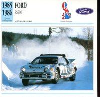 Grande Bretagne 1985-1986 : Ford RS200 - Voitures