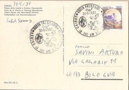 Italia - Cartolina Piazza Della Libertà Con Annullo Speciale: Arrivo IX° 100 Km. Del Passatore - Faenza (RA) - 1981 - 6. 1946-.. Repubblica