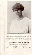 Faire Part De Décès De La Princesse Maria Adelheid ( Luxembourg) - Décès