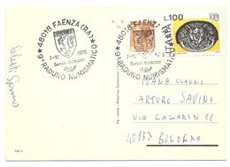 Italia - Cartolina Città Delle Ceramiche Con Annullo Speciale: 9° Raduno Numismatico - Faenza (RA) - 1976 - 1946-.. République