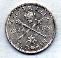 AUSTRALIA, 1 Florin, Silver, Year 1951, KM #47 - Monnaie Pré-décimale (1910-1965)