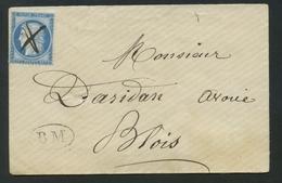 Envelop France 1871-75 Emission Cérès 25c Bleu Type III No60c. Oblitération à La Plume Et Avec BM Boite Mobile. - 1849-1876: Période Classique