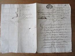 MANUSCRIT CHABONS DU 26 AOUT 1687 CACHET GENERALITE GRENOBLE - Cachets Généralité