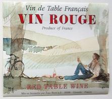 Belle Etiquette VIN ROUGE - Thème Cyclisme - Illustrateur /E373 - Etiquettes