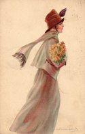 """Dessin De Bompard """" Femme Avec Bouquet De Fleurs """" - Bompard, S."""