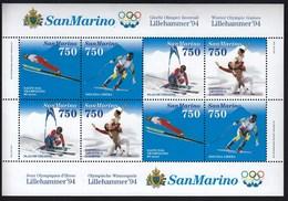 San Marino / Olympic Games Lillehammer 1994 / Skiing, Skating / Mi BL 18 / MNH - Winter 1994: Lillehammer