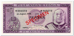 TONGA,5 PA ANGA,1978,P.21,SPECIMEN,UNC - Tonga