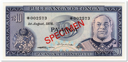 TONGA,10 PA ANGA,1978,P.22,SPECIMEN,UNC - Tonga