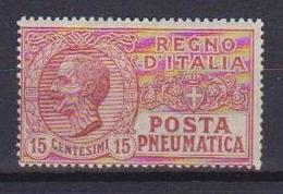 REGNO D'ITALIA POSTA PNEUMATICA 1927 TIPO DEL 1913-23  FILIGRANA CORONA  SASS. 12  MLH VF - Pneumatic Mail