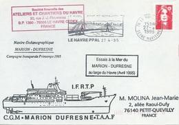 Lettre Essais à La Mer Du Marion Dufresne II Au Large Du Havre - OMEC SECAP Le Havre Ppal - 27/04/1995 - Polar Ships & Icebreakers