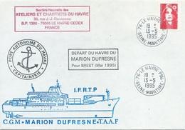 Lettre Départ Du Havre Du Marion Dufresne Pour Brest - Cachet Manuel Le Havre Ppal - 13/05/1995 - Polar Ships & Icebreakers