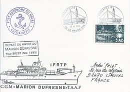 Lettre Départ Du Havre Du Marion Dufresne Pour Brest - Cachet Manuel Philatélie Le Havre Ppal - 13/05/1995 - Polar Ships & Icebreakers