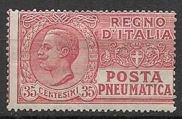 REGNO D'ITALIA POSTA PNEUMATICA 1927-28  TIPO DEL 1913-23  FILIGRANA CORONA  SASS. 13  MLH VF - Pneumatic Mail