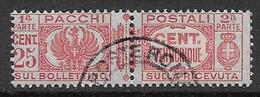 REGNO D'ITALIA 1927-32   PACCHI POSTALI RE VITTORIO EMANUELE III AQUILA SABAUDA SASS. 26 USATO VF - Pacchi Postali