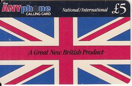 UK - Flag, ANYphone By Cardcall(UK) Prepaid Card 5 Pounds, Used - Royaume-Uni