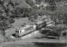 "CPSM SUISSE ""Inden"" TRAIN / TRAMWAY - VS Valais"