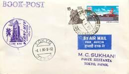 """LETTRE 1 ER VOL / INDES """"Bombay / Tokyo, 4 Janvier 1980"""" - Airmail"""