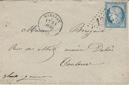 1874- Enveloppe Carte De Visite De DAMAZAN ( Lot Et Garonne) Cad T16 Affr. N°60 Oblit. G C 1265 - 1849-1876: Période Classique