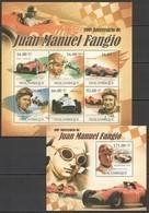 BC1023 2011 MOZAMBIQUE MOCAMBIQUE AUTO RACING 100TH ANNIVERSARY JUAN MANUEL FANGIO KB+BL MNH - Cars
