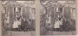 """Photos Stéréoscopiques: SUISSE. Bienne Ou Biel. 1912. Le """" Coin Baehni """". Reunion De Famille, 20 Ans De Mariage. - Stereoscopic"""