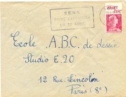 MARIANNE DE MULLER 15 F. YT 1011 PUB BIC CLIC – OMec SECAP SENS YONNE 16-2-1956 FOIRE EXPOSITION / DU 30 AVRIL - Werbung