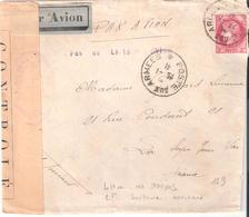 2f.Céres (surtaxe Aérienne Du Lettre En Franchise Militaire) Cachet PAS DE LIAISON AVION Et Censure L2 De DAMAS - Postmark Collection (Covers)