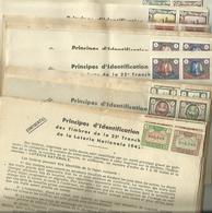 RARE PRINCIPES D IDENTIFICATION DES TIMBRES DE LA LOTERIE NATIONAL ANNEE 1942/1943 44 FICHES - Billets De Loterie
