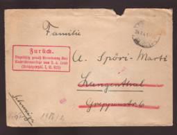Lettre - Timbre Décollé !!  Obl. Freiburg I. B. 14.07.1941-> Langenthal-Zensur/Censored/Censure E Retour- Carte à Vue - Deutschland