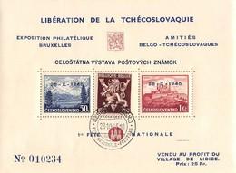 Libération De La Tschécoslovaquie -Exposition Philatélique Belge - Blokken & Velletjes