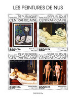 CENTRAL AFRICA 2019 - Nudes: Picasso, Manet, Titian, Durer. Official Issue [CA191012a] - Other