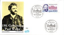 """BRD Schmuck-FDC """"150. Geburtstag Von Paul Wallot"""" Mi. 1536 ESSt 4.6.1991 BONN 1 - FDC: Enveloppes"""