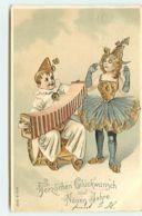 N°14533 - Carte Gaufrée - Herzlichen Glückwunsch Zum Neuen Jahre - Pierrot Et Colombine Jouant De La Musique - Nouvel An