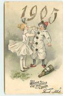 N°14537 - Carte Gaufrée - Bonne Et Heureuse Année 1905 - Pierrot Et Colombine Buvant Du Champagne - Anno Nuovo