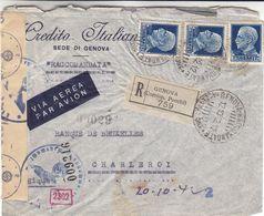 Italie - Lettre Recom De 1942 - Oblit Genova - Exp Vers Charleroi - Avec Censure - - 1900-44 Victor Emmanuel III.