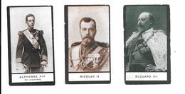 KB056 - CHROMOS PHOTOGRAPHIQUES SANS MARQUE - NICOLAS II TSAR DE RUSSIE - ALPHONSE XIII ESPAGNE - GEORGES VII - Chocolat