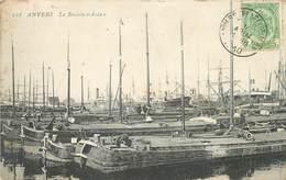 """ANVERS - Le Bassin """"Asia"""", Péniches. (timbre Taxe Au Dos De La Carte). - Arken"""