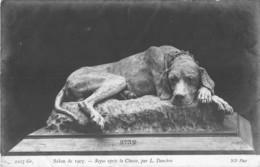 ART - SCULPTURE - L. DANCHIN - REPOS APRES LA CHASSE ( CHIEN )- SALON DE 1907 - Sculpturen