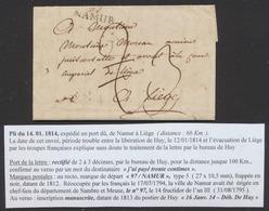 """Précurseur - LAC Datée De ? (14/1/1814) + Obl Linéaire 97 / NAMUR > Huy, Port Rectifié, Manuscrit """"Déb. De Huy"""". Texte ! - 1814-1815 (Gouv. Général De La Belgique)"""