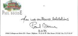 AUTOGRAPHE PAUL BOCUSE SUR CDV CARTE DE VISITE AUBERGE COLLONGES-AU-MONT D'OR 69 RHONE  3.11.1989 - Autografi