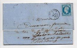 - Lettre VOUZIERS Pour PARIS Pour CHERBOURG 3 AOUT 1858 - 20 C. Bleu Napoléon III Losange PC 3683 - - 1849-1876: Classic Period