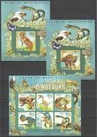 ST573 2015 SIERRA LEONE ANIMALS DINOSAURS 1KB+2BL MNH - Preistorici