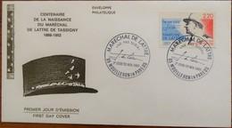 Enveloppe 1er Jour - Centenaire Naissance Du Maréchal De Lattre De Tassigny - Mouilleron En Pareds Le 18 Novembre 1989 - - FDC