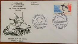 Enveloppe 1er Jour - Centenaire De La Naissance Du Maréchal De Lattre De Tassigny - Belfort Le 18 Novembre 1989 - - FDC