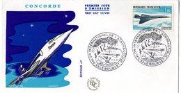 """"""" 1er VOL DU CONCORDE """"  Sur Enveloppe COMMEMORATIVE De 1969 (Oblitération Le Bourget) N° YT PA 43. Parfait état. FDC - Concorde"""